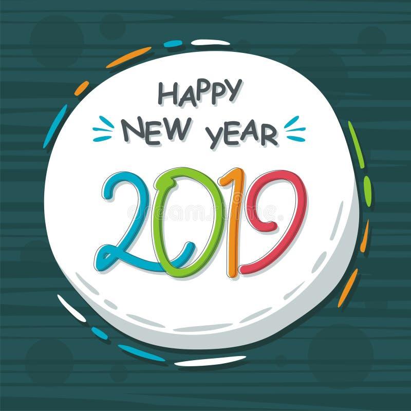 Abstract gelukkig nieuw jaar 2019 met in ontwerp stock illustratie
