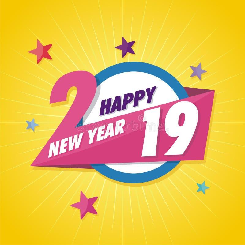 Abstract gelukkig nieuw jaar 2019 met in ontwerp royalty-vrije illustratie
