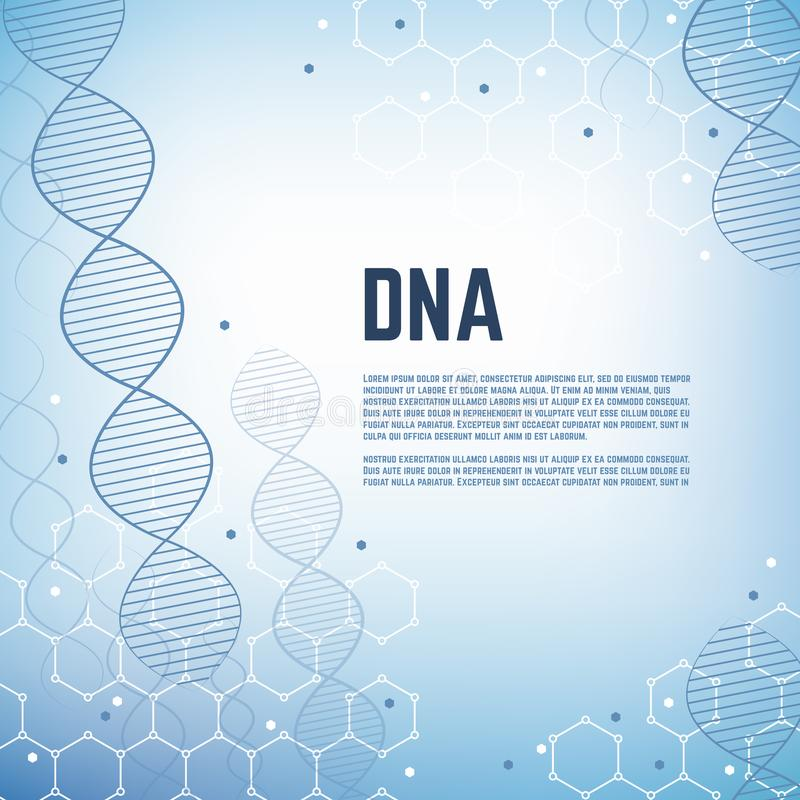 Abstract genetics science vector background with dna human chromosome molecule model. Dna model banner, cell and chromosome molecular illustration royalty free illustration