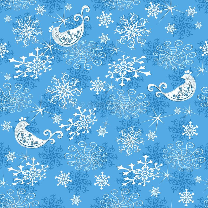 Abstract gentle blue Christmas pattern stock illustration