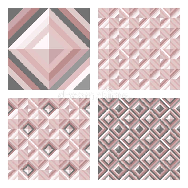 Abstract geo pattern in blush pink colors. Set of 3D surface backgrounds. vector illustration