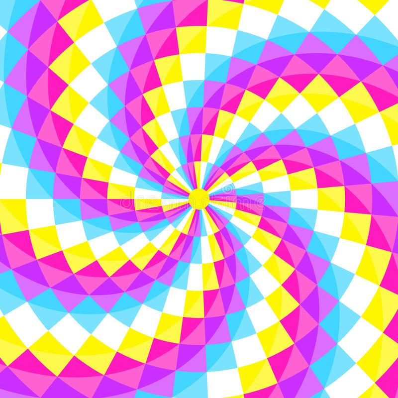 Abstract geometic background, festive pattern with different shapes in spiral. Bright and vivid colors of 80s, 90s neon style. stock illustration