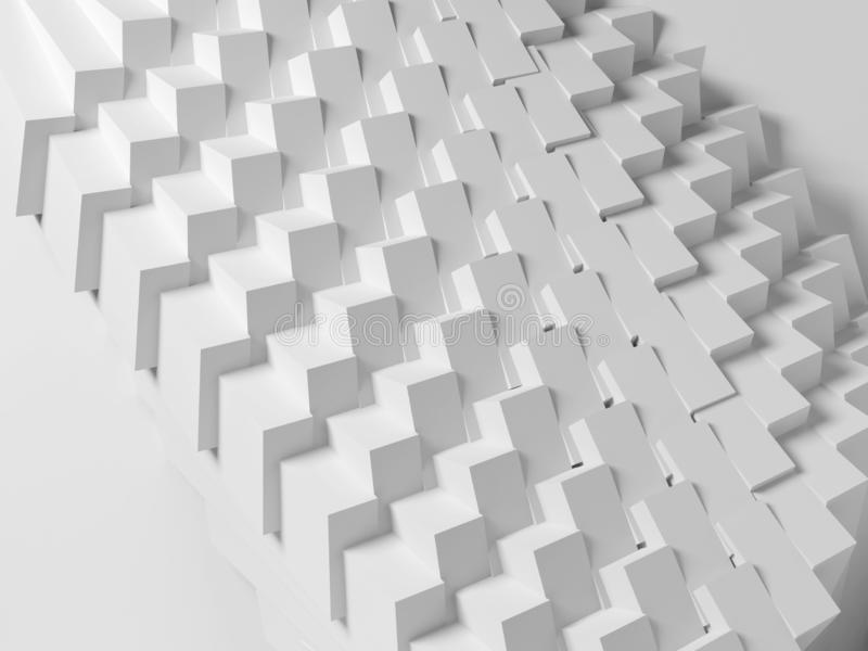 Abstract geometric architecture, 3d render. Abstract geometric architecture, white digital parametric cubes structure, 3d render illustration stock photos