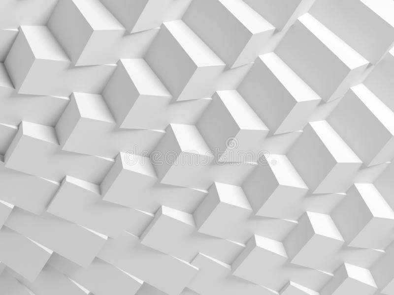 Abstract geometric architecture pattern 3d. Abstract geometric architecture pattern, white digital background with parametric cubes structure, 3d render royalty free stock photography