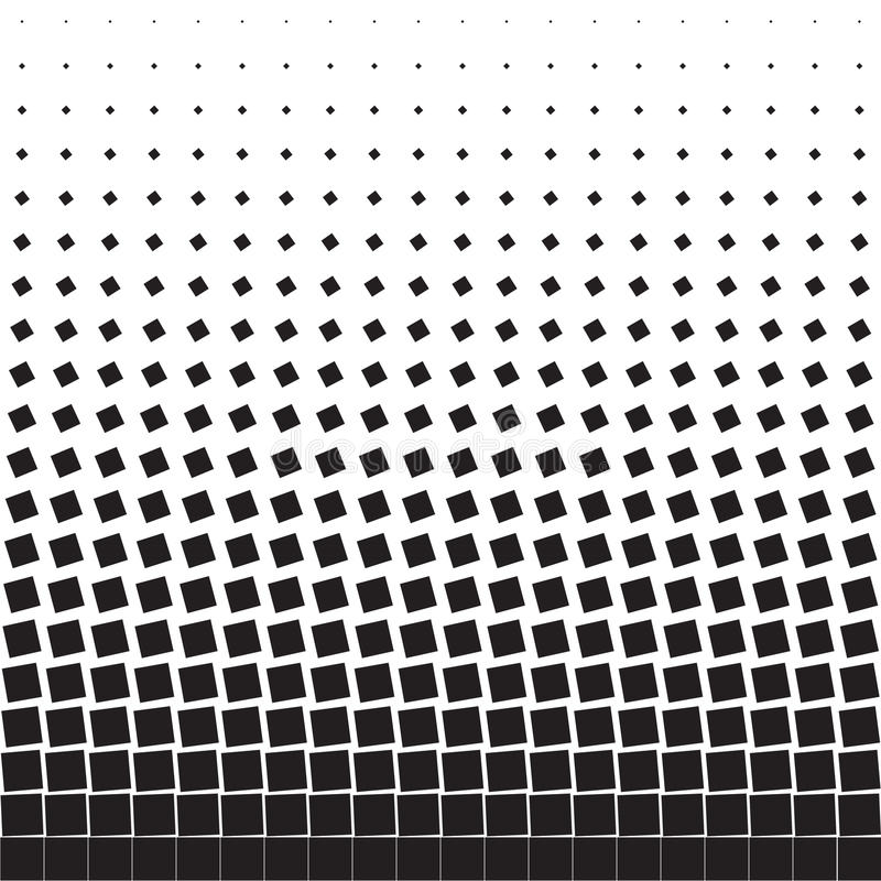 Abstract geometric background of black turning squares. Halftone vector illustration