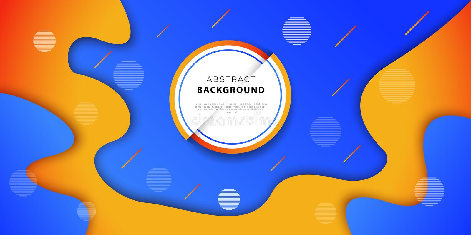 Abstract geometric background with blue and orange colors. Futuristic poster design with fluid gradient shapes. royalty free illustration
