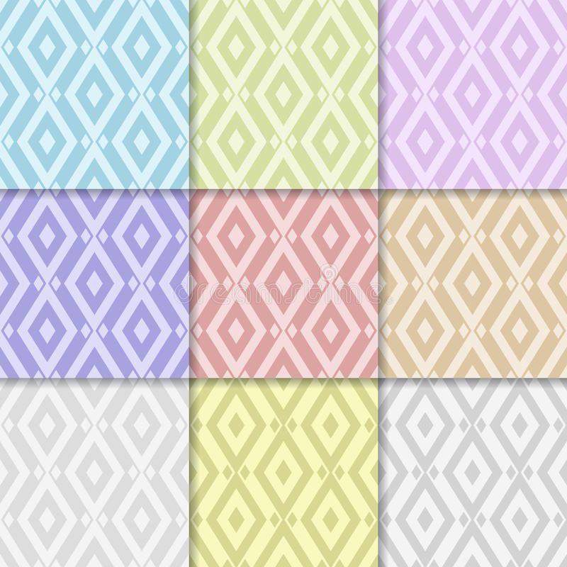 Abstract geometric background. Collection of colored seamless pattern vector illustration