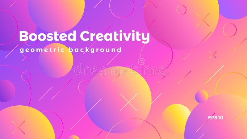 Abstract geometric background, colorful futuristic and playful graphic stock illustration