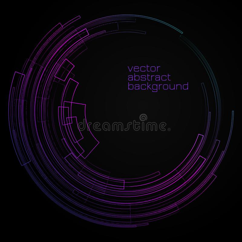 Abstract geometric background with concentric circle Bright circle on dark background graphic geometric decorative lines Colorful stock illustration