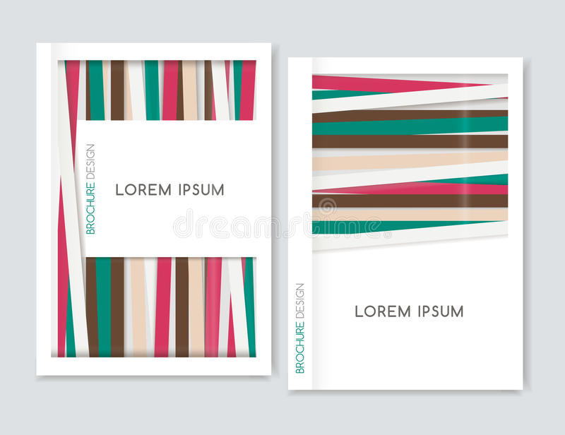 Abstract geometric background. Cover design for Brochure leaflet flyer. Brown, green, pink diagonal lines. A4 size. vector illustration