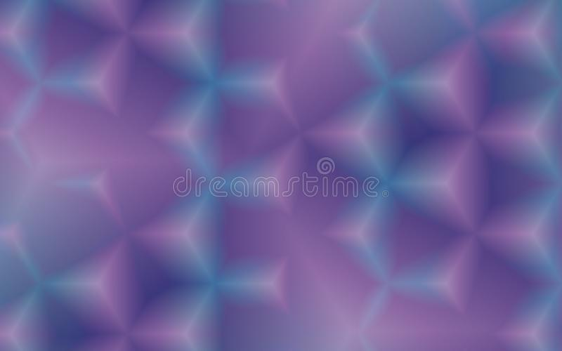 Abstract geometric background of 3d Triangles in blue, pink and white. With blurring, hollow areas and lightening effect. for creative presentations, techno royalty free illustration