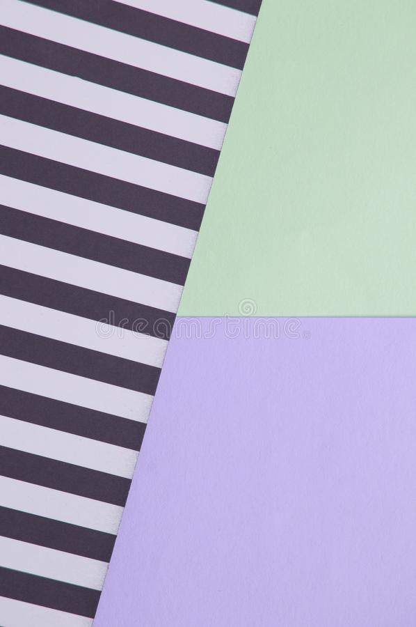 Abstract geometric background with lilac, mint green, black and white striped color, creative idea for designer, pattern stock photo