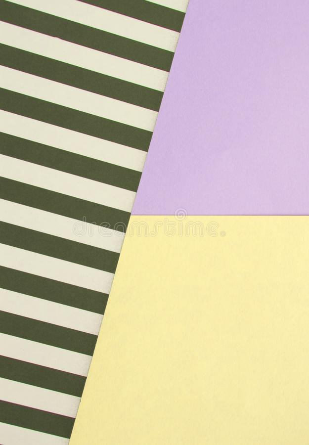 Abstract geometric background with lilac, yellow, black and white striped color, creative idea for designer, pattern. Four, paper, style, texture, bright stock photography
