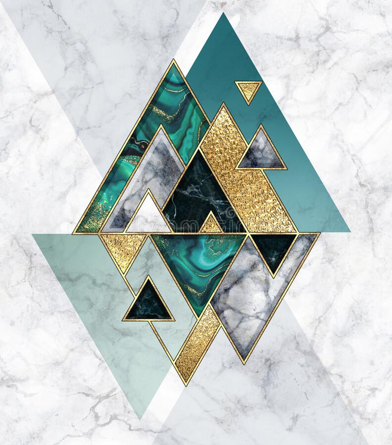 Free Abstract Geometric Background, Modern Marble Mosaic Inlay, Malachite Green Triangles, Black White Stone Textures, Golden Foil. Royalty Free Stock Images - 196404739