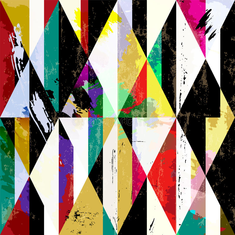 Abstract geometric background. With paint strokes, splashes and triangles,vector illustration royalty free illustration