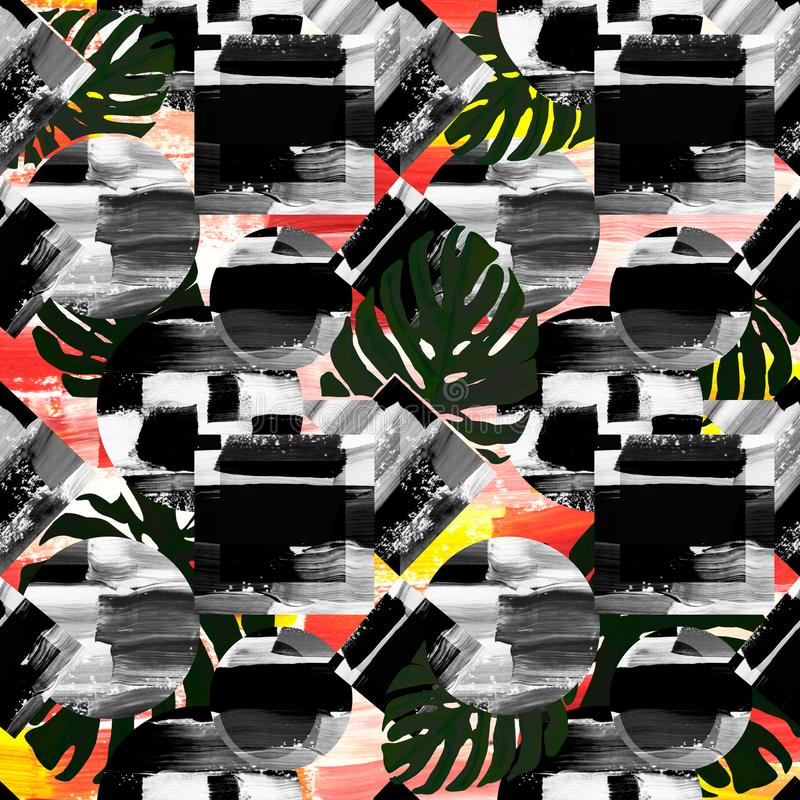 abstract geometric background pattern, black and white circle and square with monstera tropical leaves stock illustration
