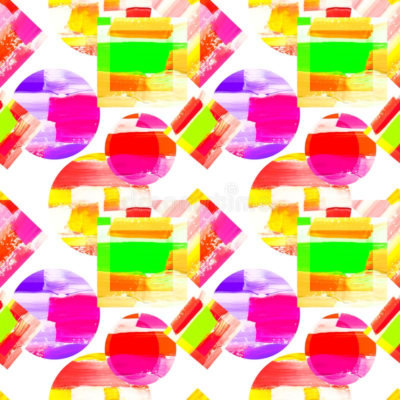Abstract geometric background pattern, colorful circle and square, purple, yellow, green colors. Abstract geometric background pattern, retro/vintage style vector illustration