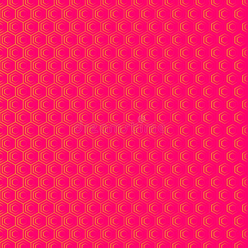 An abstract geometric background or pattern that is made up of hexagons of different sizes. Modern texture in pink and orange royalty free illustration