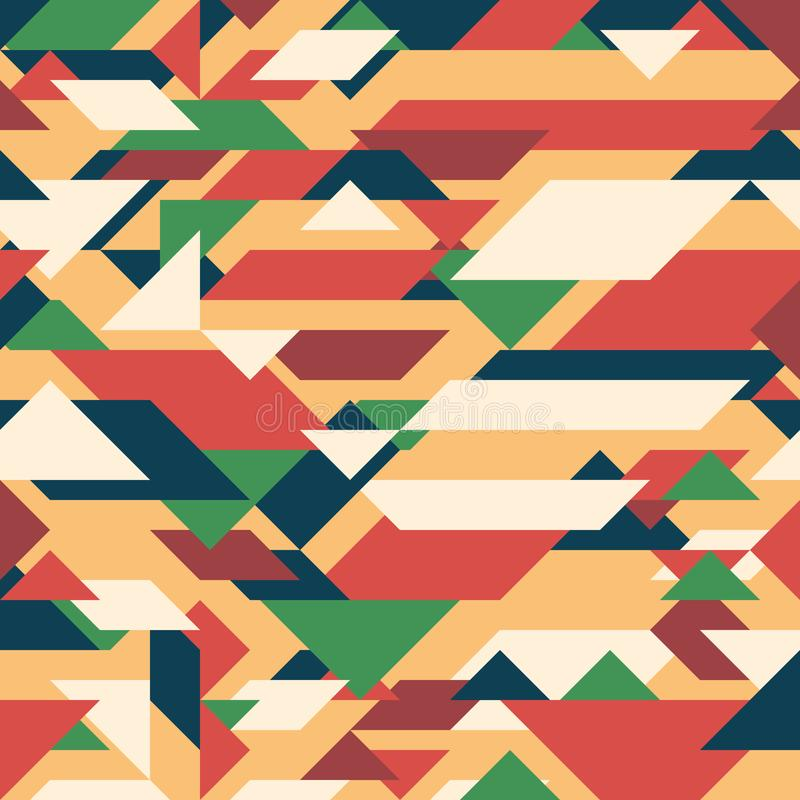 Abstract geometric background. Retro overlapping rectangles and triangles. stock illustration