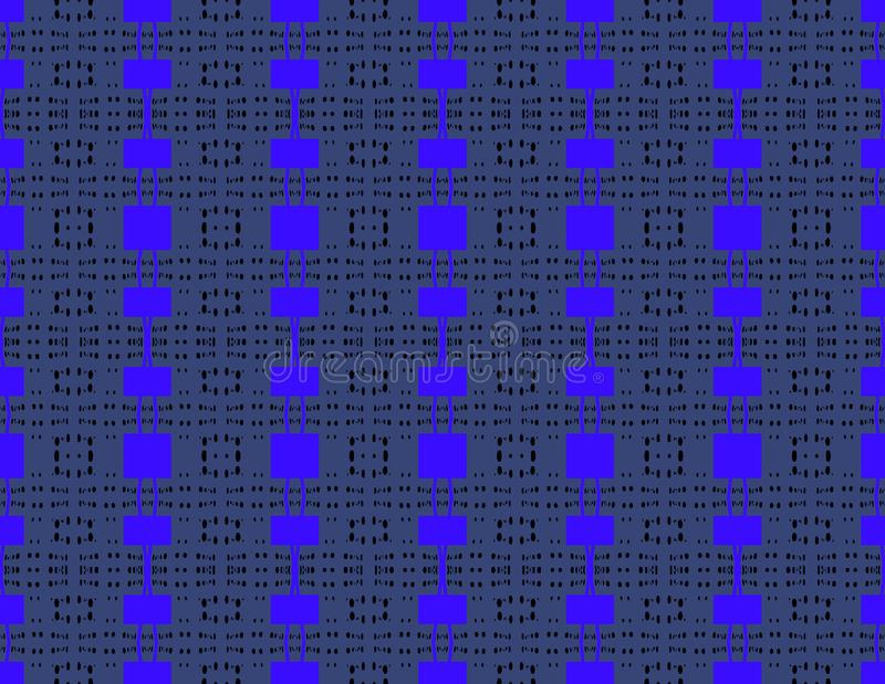 Seamless regular square pattern blue gray. Abstract geometric background, seamless square pattern bright blue on dark gray with black dots, modern and vector illustration