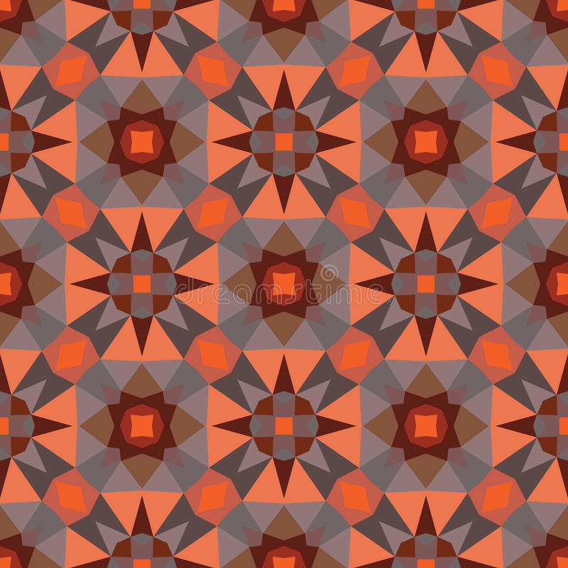 Abstract geometric background - seamless vector pattern in orange and brown colors. Ethnic boho style. Mosaic ornament structure vector illustration
