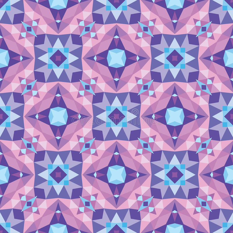 Abstract geometric background - seamless vector pattern in violet, lilac and blue colors. Ethnic boho style. Mosaic ornament. stock illustration