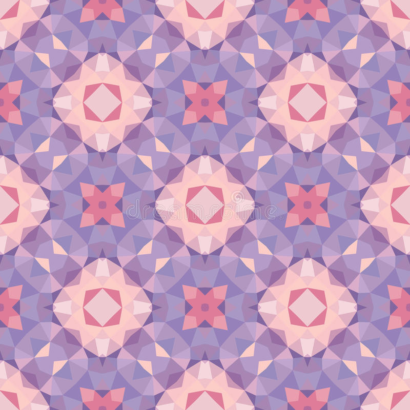 Abstract geometric background - seamless vector pattern in violet, pink and lilac colors. Ethnic boho style. Mosaic ornament. Abstract geometric background royalty free illustration