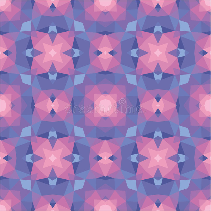 Abstract geometric background - seamless vector pattern in violet, pink and lilac colors. Ethnic boho style. Mosaic ornament. stock illustration