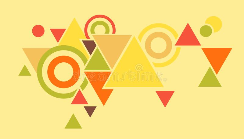 Abstract geometric background of triangles and circles, bright color shapes to create stock photography