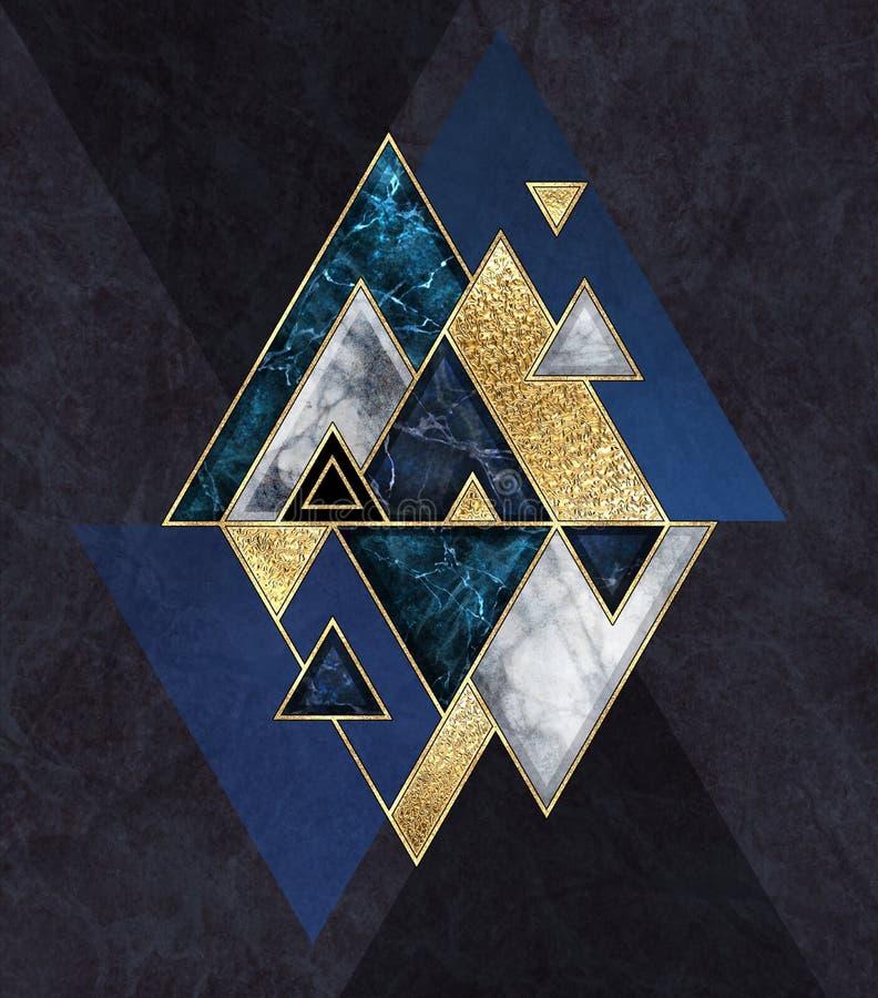 Free Abstract Geometric Background, Triangular Shapes. Modern Marble Mosaic Inlay, Art Deco Wallpaper. Fashion Illustration. Blue Black Stock Image - 196404771