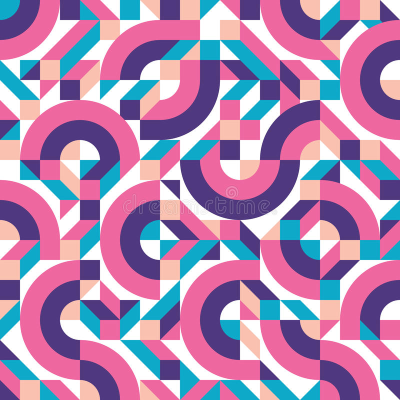 Abstract geometric background vector seamless pattern in fashion retro style of Memphis italian design group 80s. Abstract geometric background vector seamless royalty free illustration