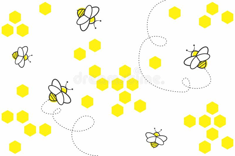 Abstract geometric background with yellow hexagons and bees on white background. Seamless pattern with honeycombs, bees royalty free illustration