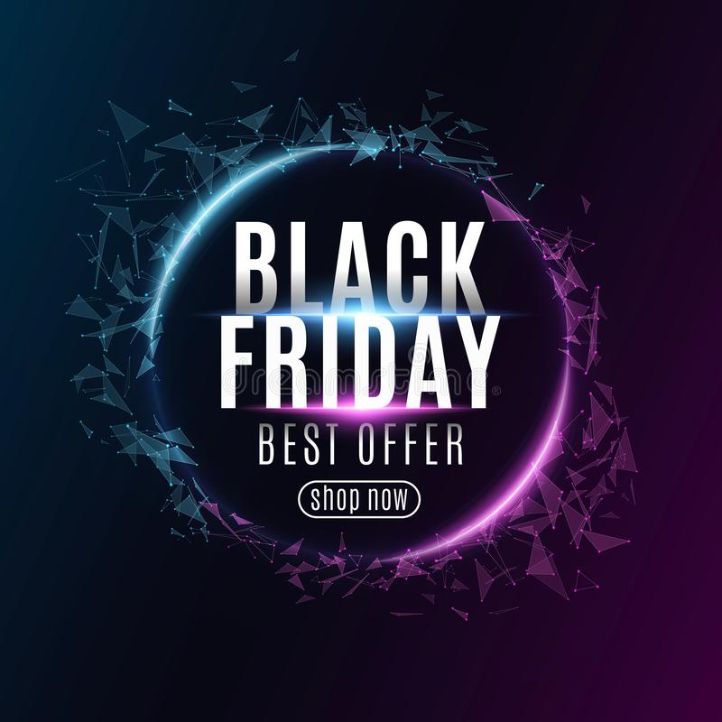 Abstract geometric banner for Black Friday sale. Glowing plexus triangles. Modern design for your business. Glowing text. Vector royalty free illustration