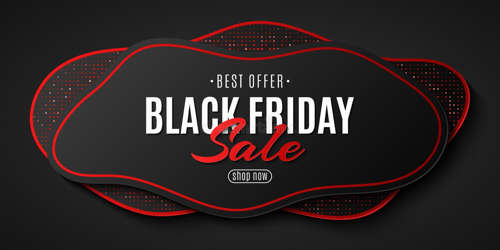 Abstract geometric banner for Black Friday sale. Wave shapes with red glitter. Fluid design for your business project. Vector royalty free illustration