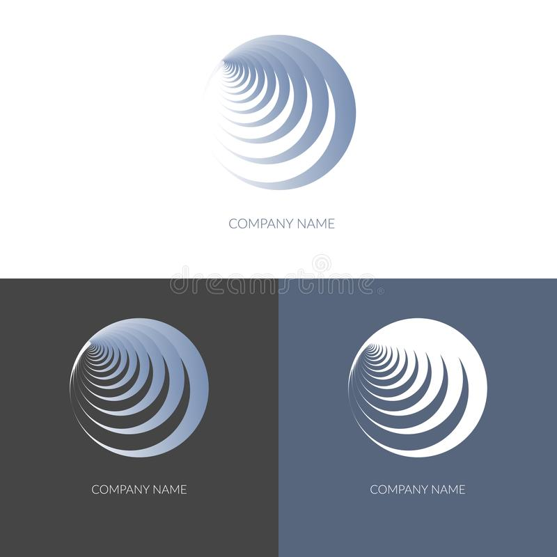 Abstract geometric banner label in the shape of round blue spiral Logo for the company business Design element icon logo Isolate royalty free illustration