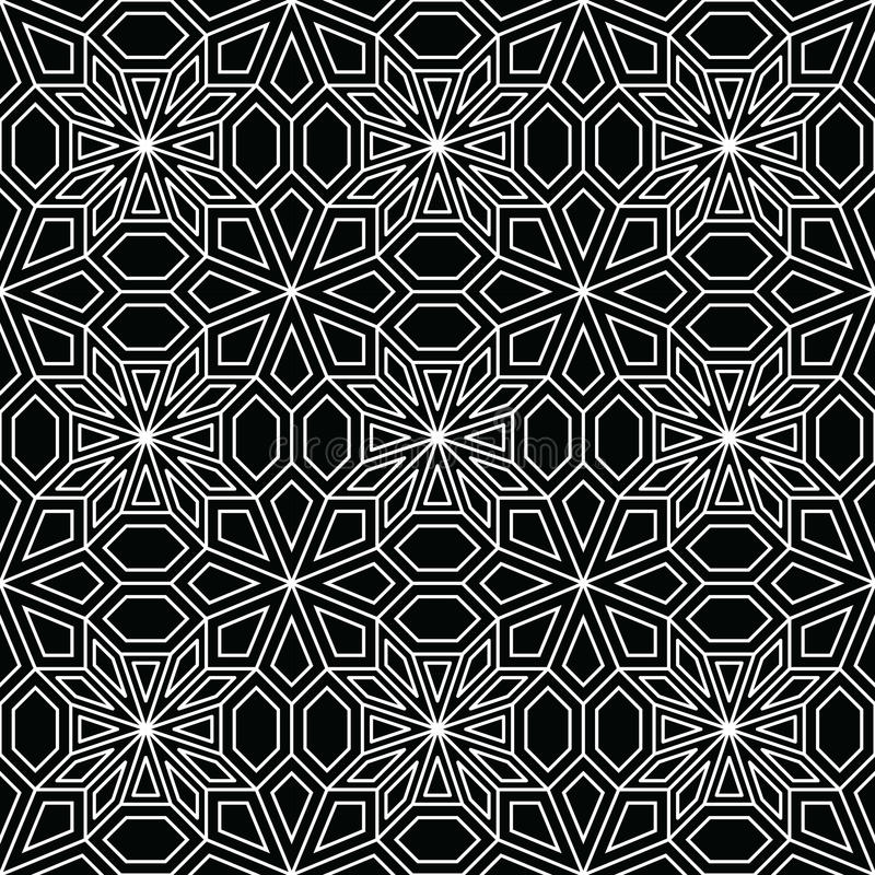 Abstract geometric black and white deco art pillow mosaic pattern. Background stock illustration