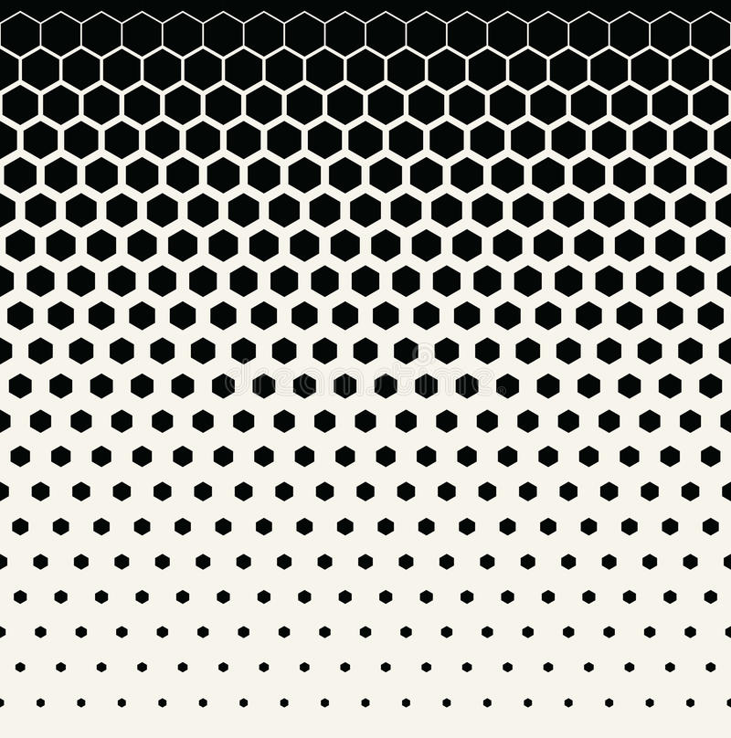 Abstract geometric black and white graphic halftone hexagon pattern background stock illustration