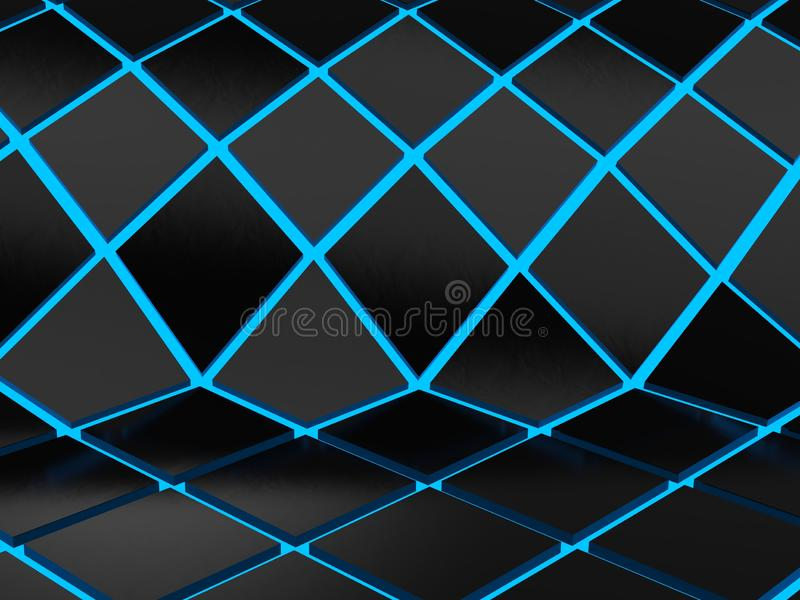 Abstract geometric blue neon background royalty free illustration