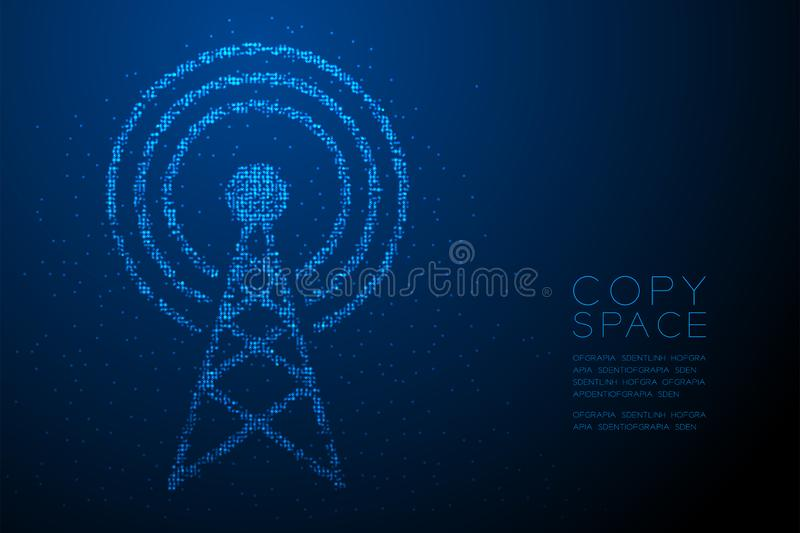 Abstract Geometric Bokeh circle dot pixel pattern Antenna tower shape, Broadcast telecommunication concept design blue color illus. Tration isolated on blue royalty free illustration
