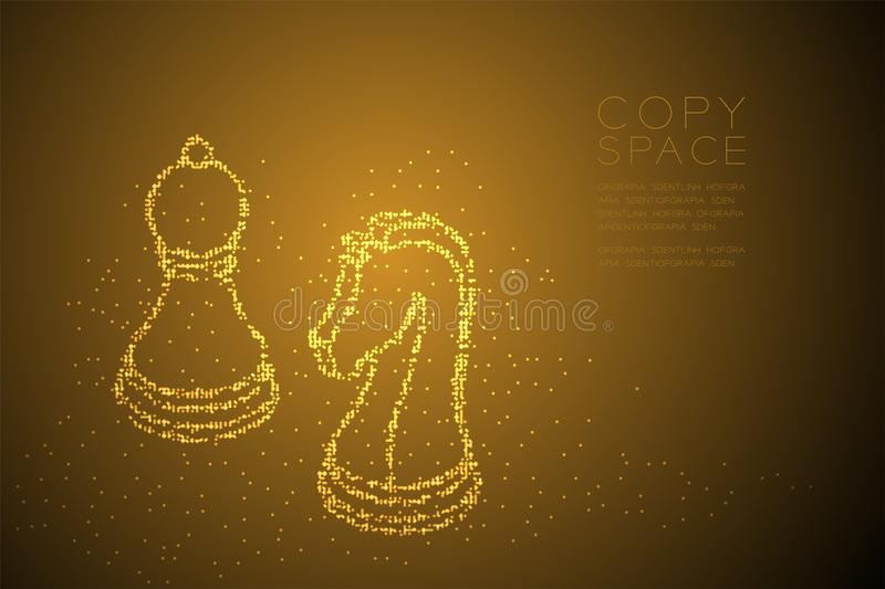 Abstract Geometric Bokeh circle dot pixel pattern Chess Knight and pawn shape, Business strategy concept design gold color illustr stock illustration