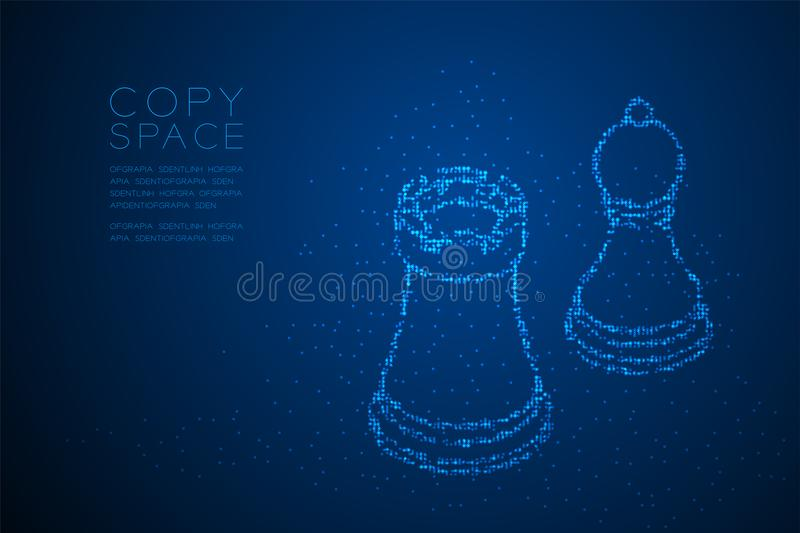 Abstract Geometric Bokeh circle dot pixel pattern Chess Rook and pawn shape, Business strategy concept design blue color illustrat vector illustration