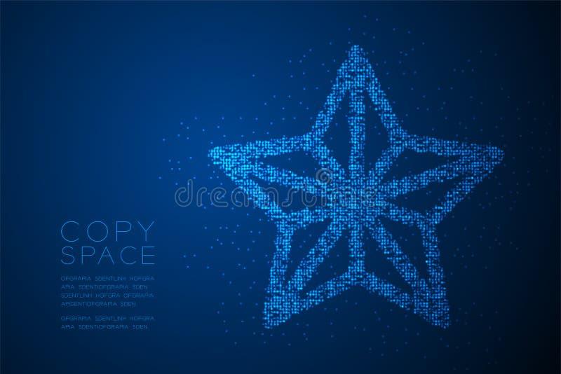 Abstract Geometric Bokeh circle dot pixel pattern Christmas star shape, Happy New Year celebration concept design blue color illus stock illustration