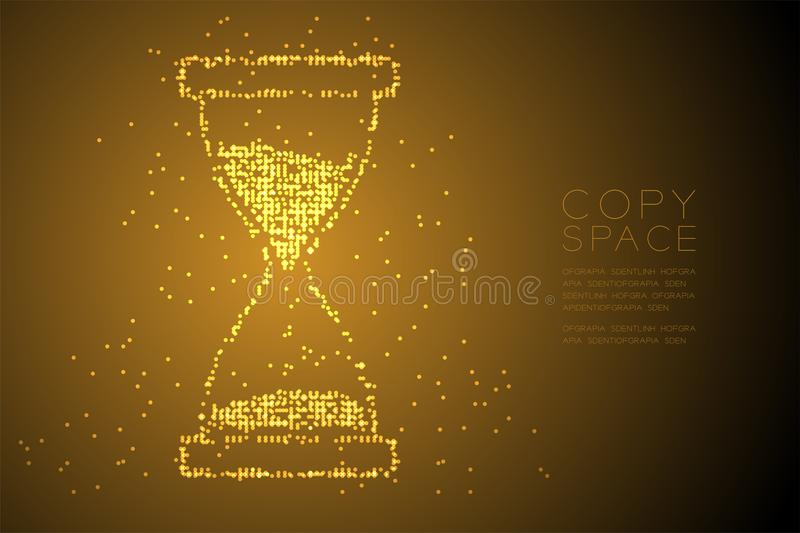 Abstract Geometric Bokeh circle dot pixel pattern Hourglass shape, digital reminder concept design gold color illustration royalty free illustration
