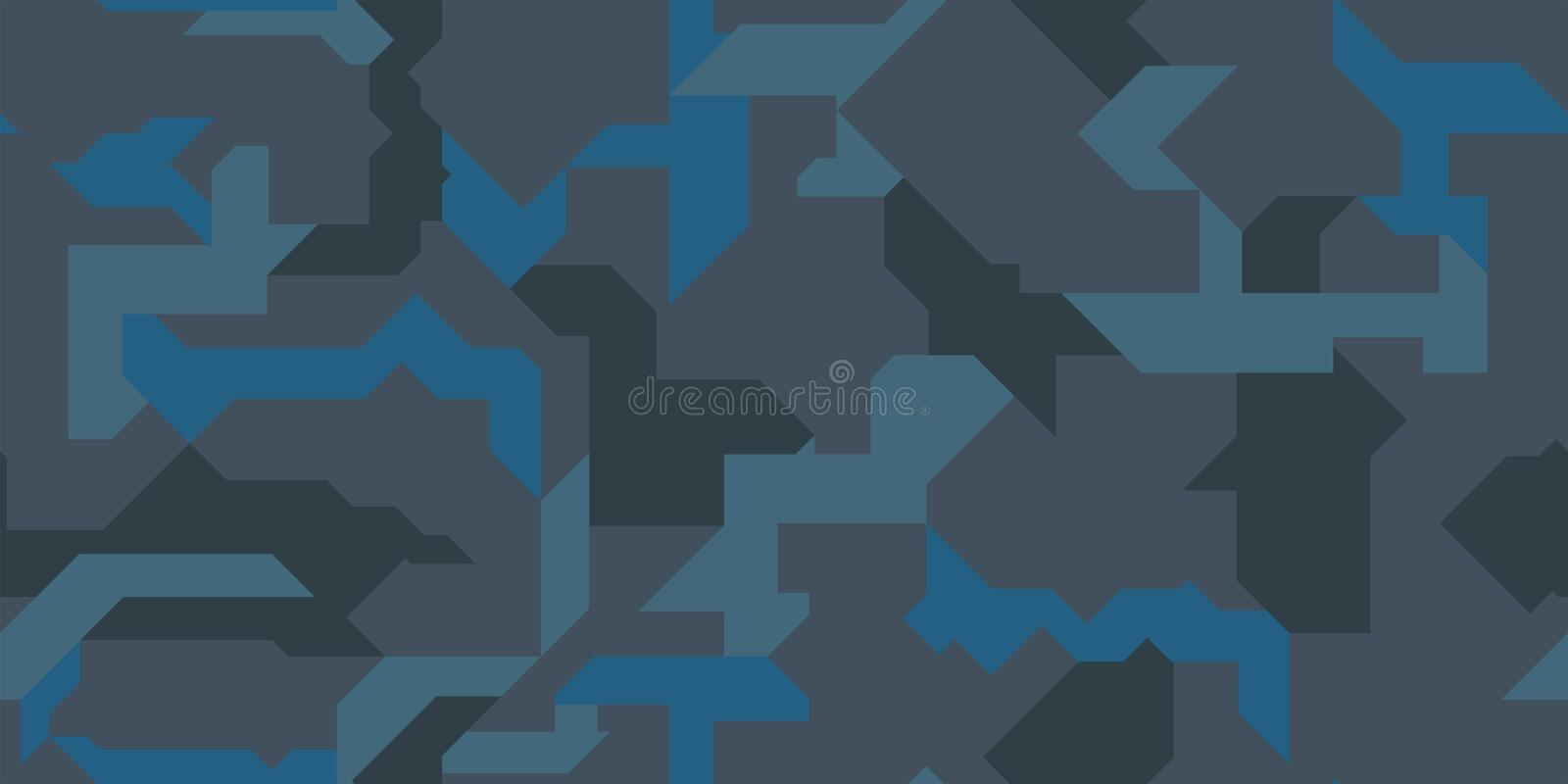 Abstract geometric camouflage seamless pattern background with blue marine tones texture. royalty free stock image
