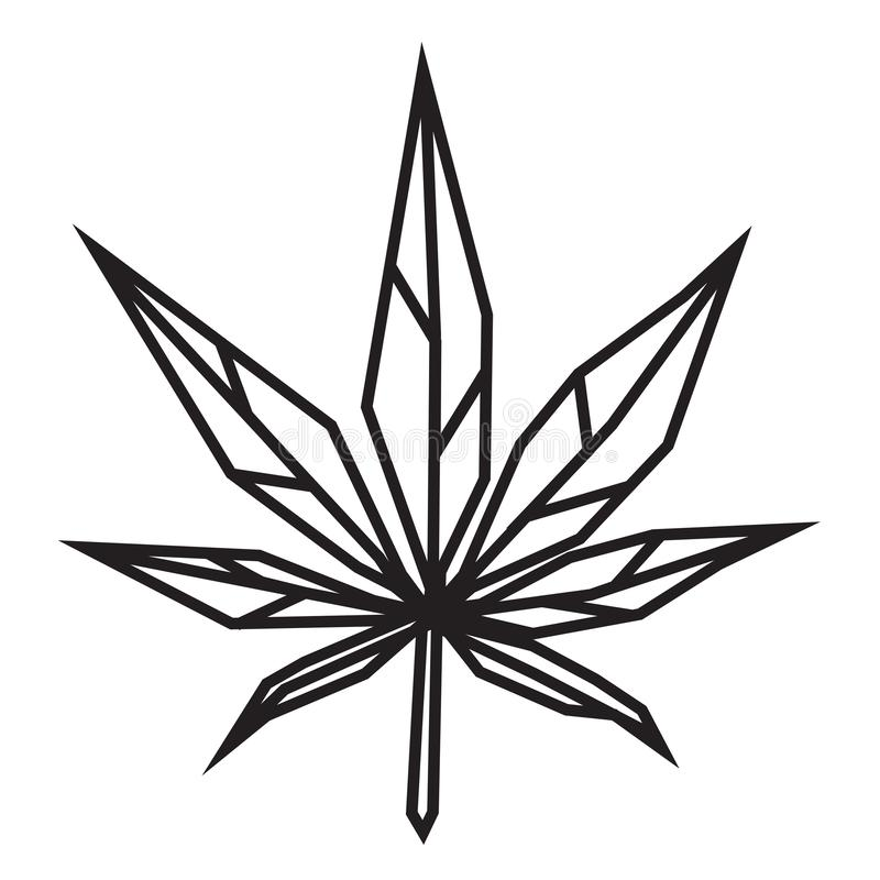 Abstract geometric cannabis icon logo design inspiration for laser cutting royalty free illustration