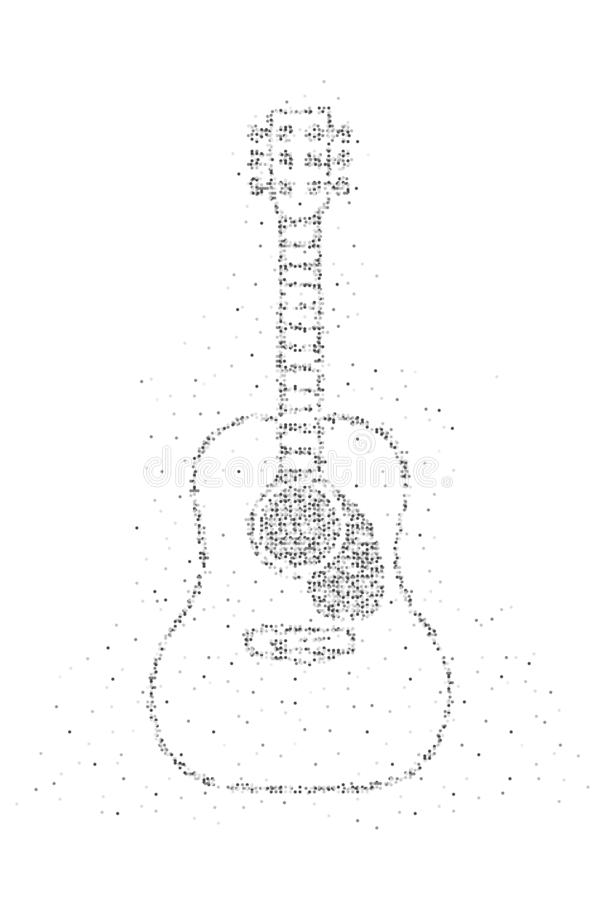 Abstract Geometric Circle dot pixel pattern Acoustic Guitar shape, music instrument concept design black color illustration on royalty free illustration
