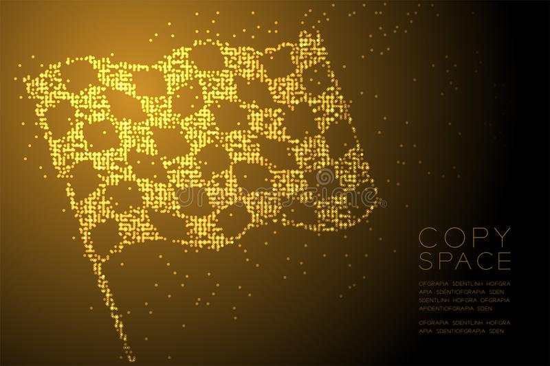 Abstract Geometric Circle dot pixel pattern Checkered flag shape, business success concept design gold color illustration vector illustration