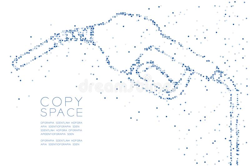 Abstract Geometric Circle dot pixel pattern Gas nozzle shape, transport energy concept design blue color illustration. On white background with copy space stock illustration