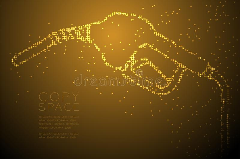 Abstract Geometric Circle dot pixel pattern Gas nozzle shape, transport energy concept design gold color illustration. Isolated on brown gradient background stock illustration