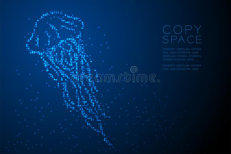 Abstract Geometric Circle dot pixel pattern Jellyfish shape, aquatic and marine life concept design blue color illustration royalty free illustration